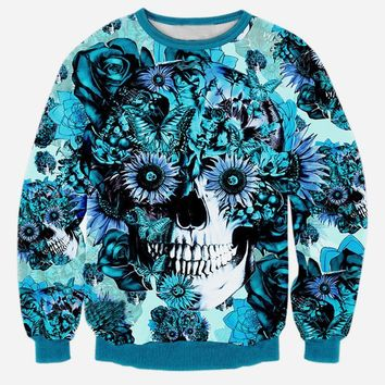 Alisister new fashion men/women's 3d sweatshirt harajuku print blue flowers skull hoodies Dia De Los Muertos sudaderas Mujer top