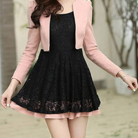 Pink Lace Long Sleeve Pleated Mini Dress