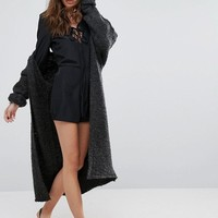 Neon Rose Cocoon Knit Duster Coat at asos.com