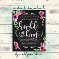 Humble and Kind Printable Song Lyrics by Tim McGraw, Always Stay Humble and Kind, Beautiful Chalkboard and Watercolor Flowers Country Music
