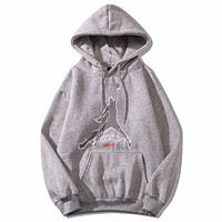 Jordan New fashion embroidery letter people couple hooded long sleeve top sweater Gray