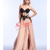 Cassandra Stone by Mac Duggal 10020A Elegant Black Lace Corset Nude Gown 2015 Prom Dresses
