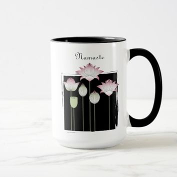 Pink Lotus Flower Namaste Modern Chic Black Custom Mug