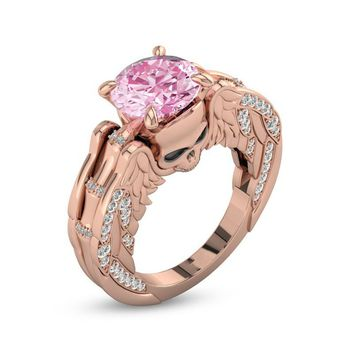 Pink Zircon Rose Gold Color Rhinestone Ring Gothic Skull Head Wing Wedding Ring Jewelry Gift