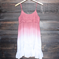 dip dye flowy bohemian mini dress in ombre rose