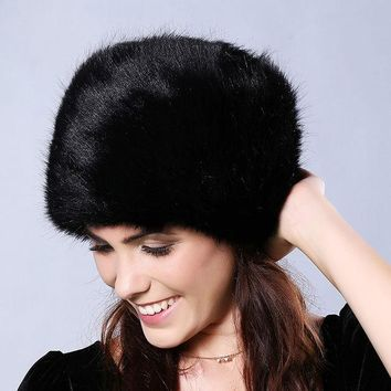 DCCKJG2 CN-RUBR Winter Women Fur Hats Thickened  Flatheaded Faux Fur Hats Winter Cap Women Gorros Mujer Invierno Gits For Beanie Women