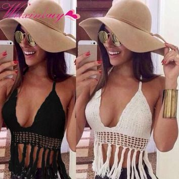 WEIXINBUY  Women Sexy Deep V-neck Crochet Knit Crop Top Halter Bra Bralette Summer Blouse
