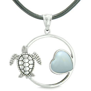Amulet Cute Sea Turtle Magic Circle Heart Medallion Simulated Opalite Leather Pendant Necklace