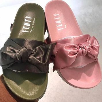PUMA fenty rihanna silk Bow Slide Sandals Shoes sneakers spring (10-color)