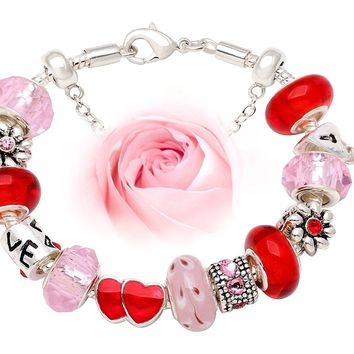 """""""Love Holds Our Hearts Together Bracelet"""" Rose Red and Sweet Pink charm bead Bracelet"""