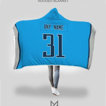 Tennesse Titans Hooded Blanket - Personalized Any Name & Any Number