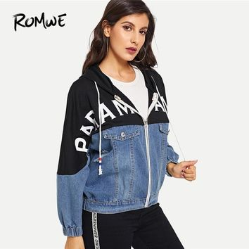 ROMWE Blue Letter Print Colorblock Denim Hooded Jacket Womens Jackets And Coats Casual Clothing Ripped Outerwear
