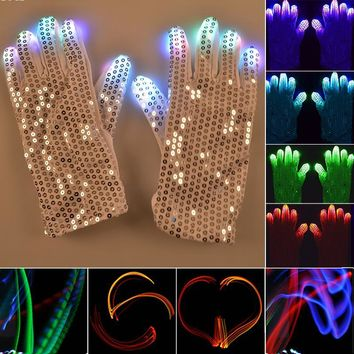 1 Pair Flashing Fingertip Light 7 Mode LED Gloves Mittens Costumes Rave Skating Riding Party Supplies Luminous Cool Gloves #15