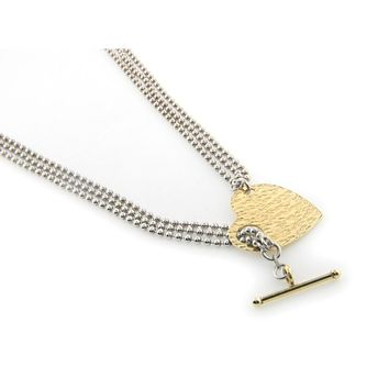Hammered Golden Heart and Pull Through Locket Necklace
