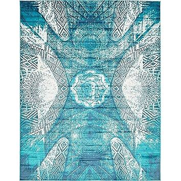 2054 Turquoise Distressed Contemporary Area Rugs