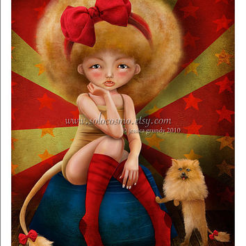 "5x7 Circus Art Print ""Ferocious"" Small Size Giclee Print of Original Artwork - Carnival Freak Lion Girl and Pomeranian Puppy"