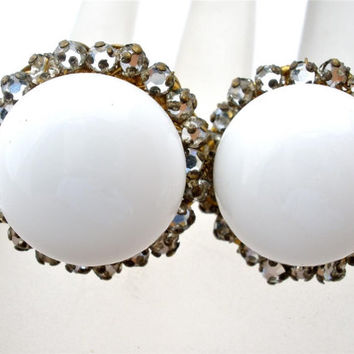 Storewide Sale Vintage Haskell White Rhinestone Earrings Signed Russian Round Gold Milk Glass Miriam
