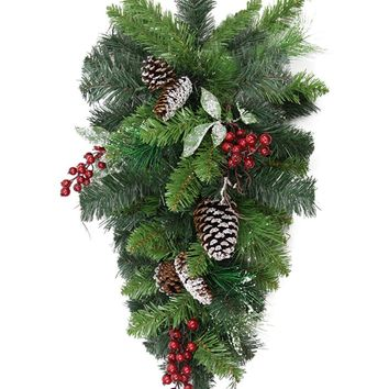 "32"" Pre-Decorated Frosted Pine Cone and Red Berry Artificial Christmas Teardrop Swag - Unlit"