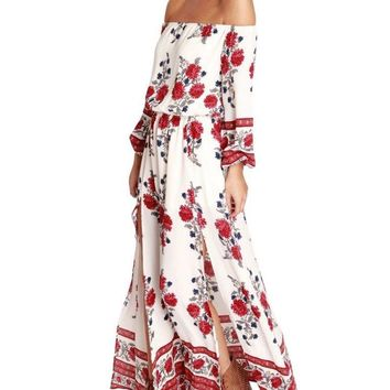 Yesfashion Women Off Shoulder Long Sleeve Floral Print Split Beach Maxi Dress