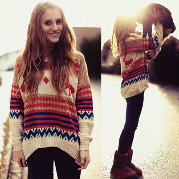 Winter Pullover Knit Tops Deer Sweater [8035749313]
