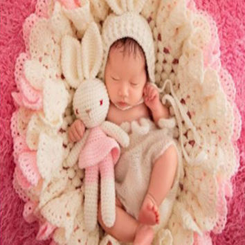 White And Pink Knit Posing Blanket Bunny and Bonnet (3 piece set) Great for Easter - CC3PR