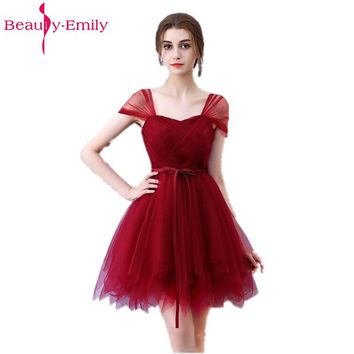 Beauty Emily Sexy Short Party Wine Red Burgundy Prom Dresses 2018 One Size Evening Party Gowns Dresses