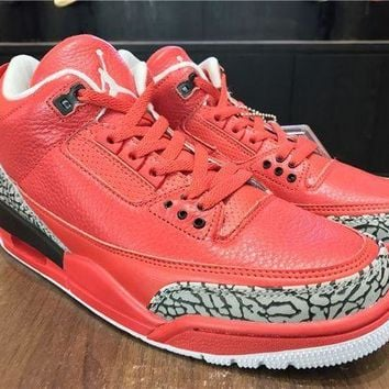 PEAPONVX Jacklish Dj Khaled X Air Jordan 3 Grateful Red Elephant Print For Sale
