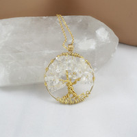Tree Of Life Necklace Clear Quartz Pendant On Gold Chain Wire Wrapped Wedding Jewelry April Birthstone Jewelry