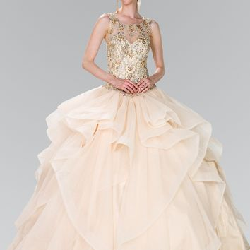 Ball gown dress with ruffle gls 2378