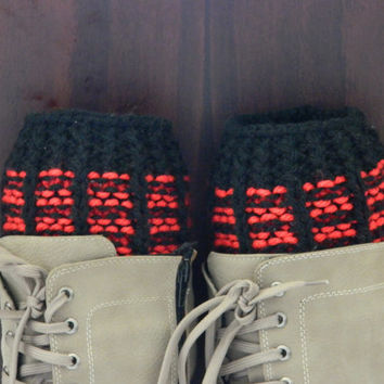 BOOT CUFFS Socks  Leg Warmers Striped Black and Red Boot Socks, COLOR Black and Red Hand Knit Gift,