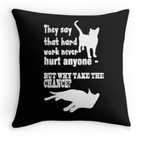 Lazy Cats Typography Pillow, Black and White Quote Scatter Cushion, 16x16, Chalk Board Cushion Cover