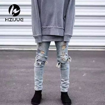 kanye west represent mens european clothing slp men light blue/black designer rock star destroyed ripped skinny distressed jeans