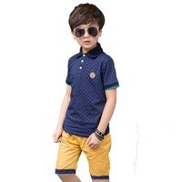 Children's kids boys clothes set summer polo dots shirt sports tracksuit for boys clothing sets 4 6  8 9 10 12 13 14 years old