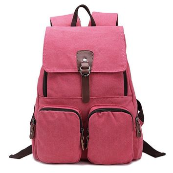 Juice Action Unisex Light Weight Canvas Outdoors Hiking Travel Backpack School Bag Red