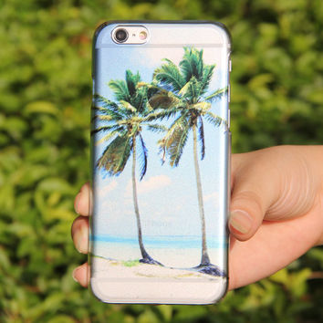 Crystal Transparent Sea Beach Palm Tree  iPhone 6 Case,iPhone 5S/5 Case,iPhone 5C Case Abstract Watercolor