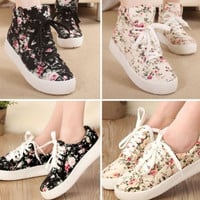 Women's Floral Print Lace Up Boot Sneakers Platform Flat Casual Shoes = 1698057028