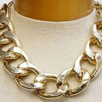 """BOLD CHIC Gold Chunky Link Chain 16 19"""" Necklace Fashion UNIKLOOK Design Jewelry"""