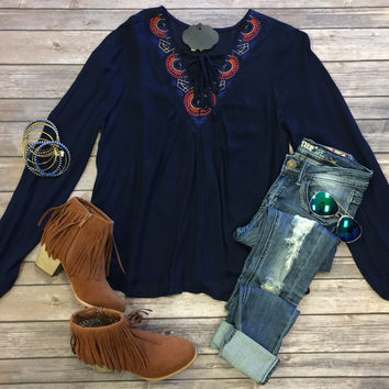 Pretty Ways Blouse: Navy