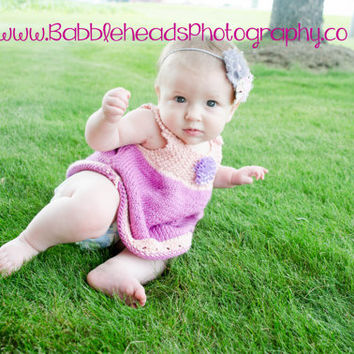 Knitted Baby Tunic / Pink and Purple Baby Dress / Photo Prop / 6-12 Months / Ready to Ship!