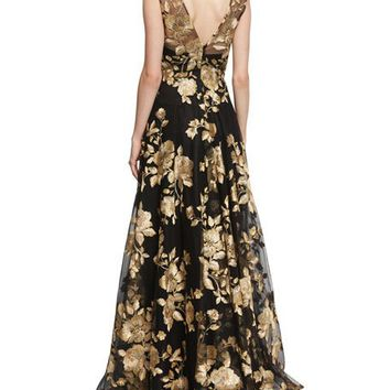 Marchesa Notte Sleeveless Floral-Embroidered Ball Gown, Black