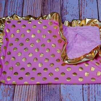 Gold Dot Baby Blanket, Pink and Gold Blanket, Personalized Pink Baby Blanket