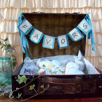 Suitcase Wedding Favor Box with Banner, Favor Bunting, Aqua, Rustic Wedding, Distressed Brown