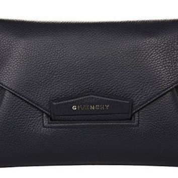 Givenchy Medium Antigona Envelope Female Goatskin Leather Black Clutch/Evening Bags