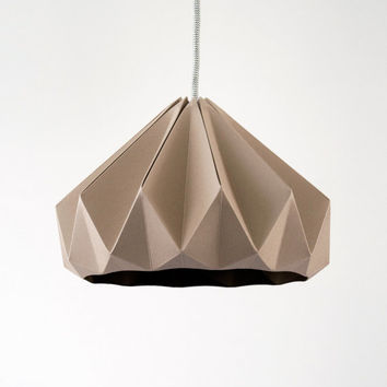 Chestnut paper origami lampshade Cardboard Brown