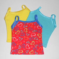 3 Tank Tops for American Girl Doll Clothes Yellow/Aqua and Red Hearts fits 18 inch dolls