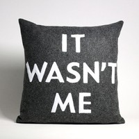 IT WASN'T ME recycled felt applique pillow by alexandraferguson