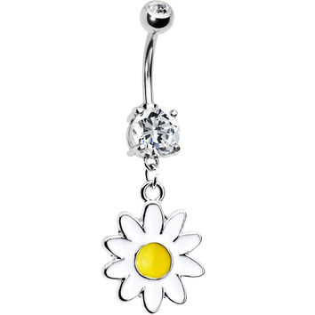 Dangling Daisy Dual Gem Belly Ring