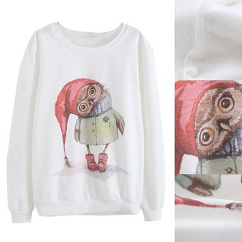 White Red Hat Owl Printed Long Sleeve Sweatshirt