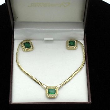 CHRISTIAN DIOR Germany Faux Emerald Diamond Necklace Post Earring Set