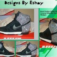 Custom Silver Sparkle Nike Dunk Sky Hi Wedge Sneakers